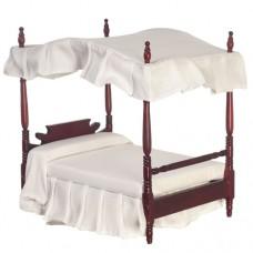 Doll House Mahogany Finish Canopy Double Bed - T3352
