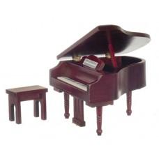 Mahogany Finish Grand Piano with Bench Doll House Mini
