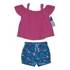 OshKosh Genuine Kids Top and Shorts Pink and Blue Solid Size 12M