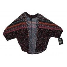 Girls' Printed Kimono - Art Class  Black & Summer Coral S