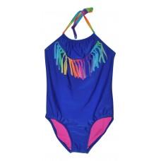 Girls' One Piece Swimsuit With Tassels - Xhilaration  Blue S