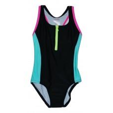 Girls 1-Piece Zipper Bathing Suit Black with Mulitcolor Trim Xhilaration XS