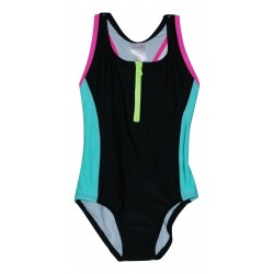 Girls 1-Piece Zipper Bathing Suit Black with Mulitcolor Trim Xhilaration XS