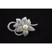 Flower Pearl Bridal Pin Diamante Silver Tone