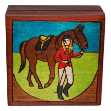 Engraved Wooden Keepsake Box Girl with Horse