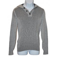 Mens Henley Hooded Sweater Grey Elbow Patches (SM) American Rag