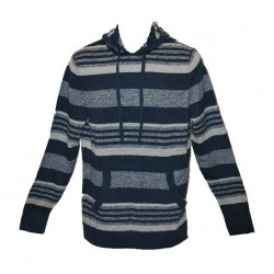 American Rag Striped Pullover Men's Lightweight Hoodie (Navy) Small
