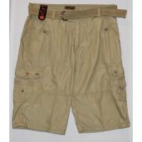Mens Belted Cargo Shorts - Khaki - Marx & Dutch - 34 Waist