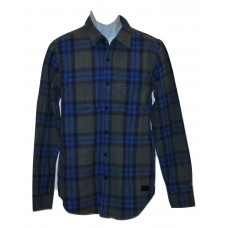 Men's Plaid Flannel Shirt Navy Airlift Lrg Wovens - 2XL