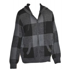 Men's Knit Hoodie Sweater Black & Grey Check Zipper Front - Rocawear