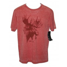 Social Republic Wild Life Burnout Moose and Pipe T-Shirt Red MED