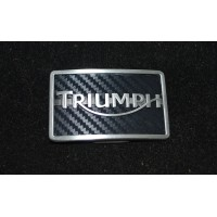 Triumph Motorcycle Belt Buckle - Carbon Logo - Silver Color
