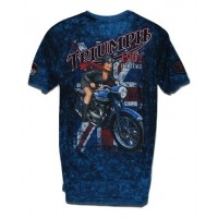 Triumph Men's Short Sleeve Blue T-Shirt Pin Up - MED