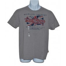 Triumph Men's World's Fastest Motorcycle Flag Tee -Grey - MED
