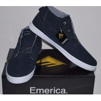 Emerica Troubadour High Top Profile Dark Navy Suede Skate Shoes 12