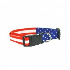 Patriotic Dog Collar Red White Blue Flag Design