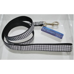 Black Houndstooth Pattern Dog Leash 4'