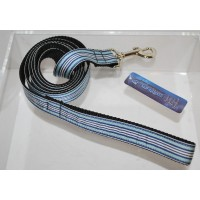 6 Foot Nylon Dog Leash Blue White Stripes Martingale