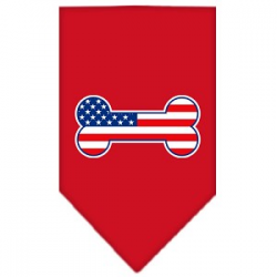 Bone USA Flag Dog Bandana Red LG