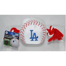 LA Dodgers Logo Nylon Pet Toy Shaped Like a Baseball Pets First, Inc.