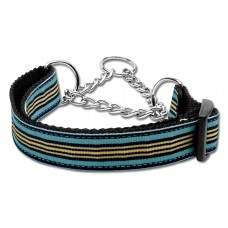 Light Blue & Khaki Martingale Nylon Dog Collar Preppy Stripes (MED) Mirage Pet P