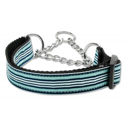 Light Blue & White Martingale Nylon Dog Collar Preppy Stripes (MED) Mirage Pet P