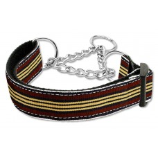Brown & Khaki Martingale Nylon Dog Collar Preppy Stripes (MED) Mirage Pet Produc