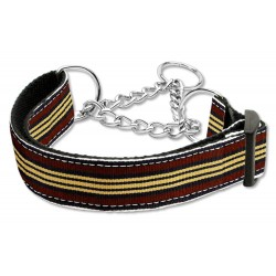 Brown & Khaki Martingale Nylon Dog Collar Preppy Stripes (LG) Mirage Pet Product