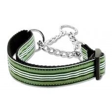 Green & White Martingale Nylon Dog Collar Preppy Stripes (MED) Mirage Pet Produc