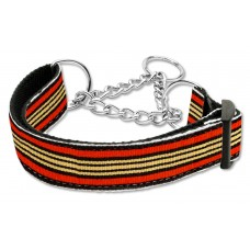 Orange & Khaki Martingale Nylon Dog Collar Preppy Stripes (MED) Mirage Pet Produ