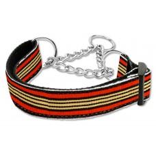 Orange & Khaki Martingale Nylon Dog Collar Preppy Stripes (LG) Mirage Pet Produc