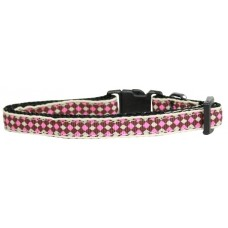 Pink Cat Collar Checkers Pattern Nylon Breakaway
