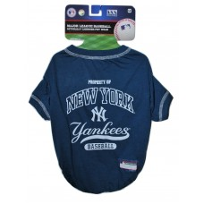 NY Yankees Baseball Team Dog Tee Shirt by Pets First (MED)