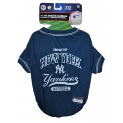 NY Yankees Baseball Team Dog Tee Shirt by Pets First (MED)