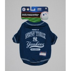 NY Yankees Baseball Team Dog Tee Shirt by Pets First (SM)