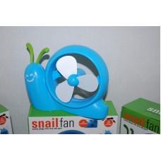 Mini Desk Fan Blue Snail Shape USB or Battery