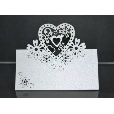Laser Cut Ivory Heart Place Cards (Qty 50)