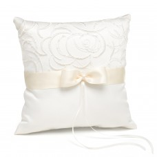 Satin and Swirls - Ring Bearer Pillow - Ivory