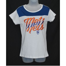 MLB Girls New York Mets T-Shirt - White Glittery SMALL