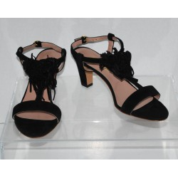 Avril Gau Betty Women's Black Suede T-Strap Sandals Euro Size 36