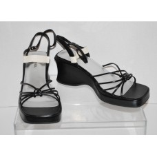 Womens Slingback Black Wedge Sandals Ankle Strap Classifed Derby Size 10