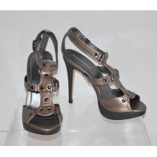 Pierre Dumas High Heel Pewter Sandals 9M