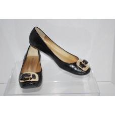 Gino Ventori Jacare Preto Caiman Womens Black Flats Size 7