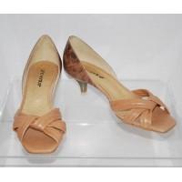 Gino Ventori Luisa Crocodile Vintage Blush Sandals Kitten Heels
