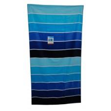 "Beach Towel Blue - Rugby Stripe - Evergreen 32"" x 62"""