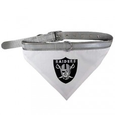 Oakland Raiders Dog Bandana Collar Reflective & Adjustable LG